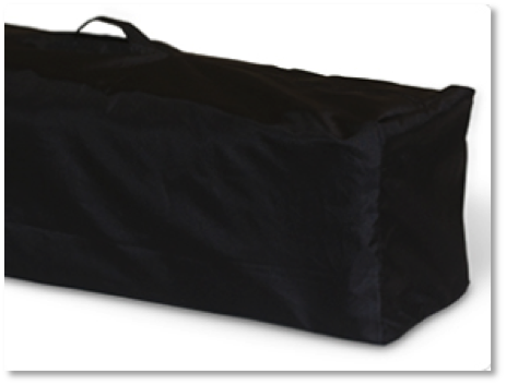 A travel playard carrying bag makes helps with storage.